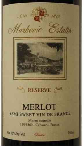 MARKOVIC ESTATES 2012 MERLOT 1.5L